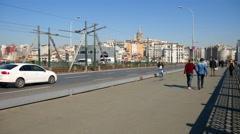 Traffic on the galgata bridge in Instanbul Stock Footage