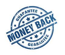 Money back guarantee rubber stamp illustration Stock Illustration