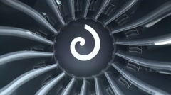 Boeing 747  Engine Blades, Close Up. Stock Footage