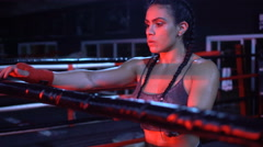 Brunette strong fitness woman at the gym Stock Footage