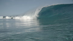 Massive wave breaking on tahitian reef Stock Footage