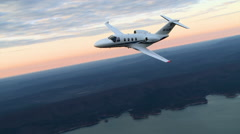 Cessna Citation M2 Air To Air Sunset Slow Motion Stock Footage