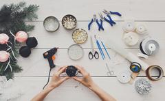 Creative diy hobby. Handmade christmas decoration, balls and garland Stock Photos