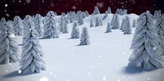Composite image of digitally generated image of trees on snowcapped mountain Stock Illustration