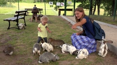 Cheerful mother with toddler daughter between group of rabbit in zoo Stock Footage