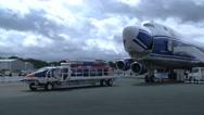 Boeing 747-8F nose door opening Stock Footage