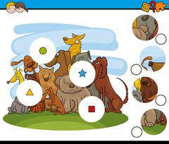 Match the pieces game with dogs Stock Illustration