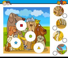 Match pieces activity with dogs Stock Illustration