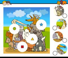 Match pieces game with dogs Stock Illustration