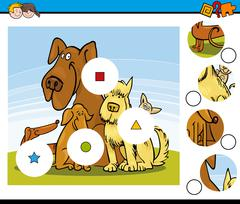 Match the pieces task with dogs Stock Illustration
