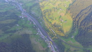 The village in a mountain canyon. aerial view Stock Footage