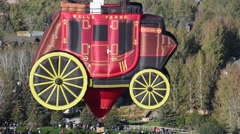 Wells Fargo wagon hot air balloon Stock Footage