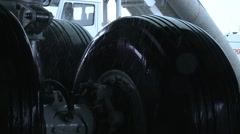 Boeing 747 wheels in the rain Stock Footage