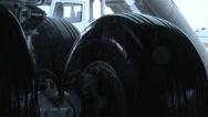 Boeing 747 wheels in the rain Stock Footage