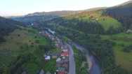 House near the river. flight quadrocopters Stock Footage