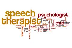 Speech therapist word cloud Stock Illustration