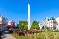 Buenos Aires sign and Obelisco Stock Photos