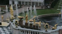 ST. PETERSBURG, RUSSIA  Grand Cascade golden statue  Stock Footage