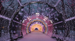 Christmas night on Tverskoy Boulevard in Moscow Stock Footage