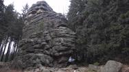 4k Feuersteinklippen rocks monument panning mountain range Harz winter Stock Footage