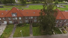 Aerial view of Dutch street with brick houses Stock Footage