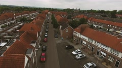 Aerial view of family houses of Dutch town Stock Footage
