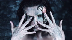 4k Halloween Shot of a Horror Woman Mermaid Posing with Hands, dark colour Stock Footage