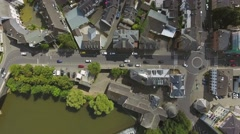 Aerial view of Dutch city with orange historical builidings Stock Footage