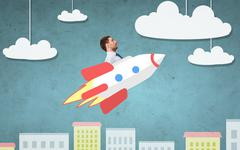 Businessman flying on rocket above cartoon city Stock Photos