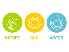 Nature Sun and Water elements flat icons Stock Illustration