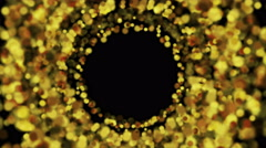 Glowing golden circle particles video animation Stock Footage