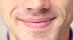 Extreme close up of a man's mouth and teeth when he smiles 4K Stock Footage