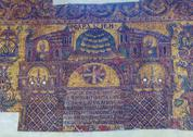 BETHLEHEM, ISRAEL - FEBRUARY 19, 2013: Mosaics  inside Church of the Nativity Stock Photos
