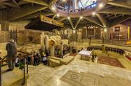 NAZARETH, ISRAEL - FEBRUARY 21, 2013: Interior of Annunciation Cathedral Stock Photos