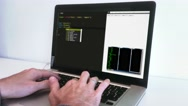 Male Hands On Computer Programming Source Code Stock Footage