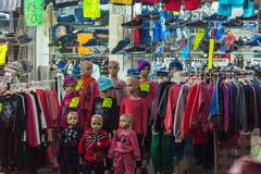 JERUSALEM, ISRAEL - FEBRUARY 21, 2013: Children's clothing on mannequins in t Stock Photos