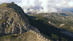 Aerial view of Lovcen mountain and mausoleum of Njegos Stock Footage
