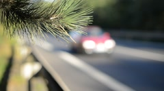 Detail of crash barrier with speeding cars Stock Footage