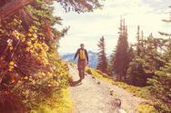 Hike in autumn Stock Photos