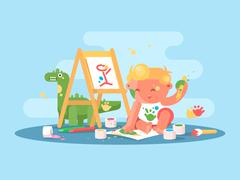 Little young baby artist Stock Illustration