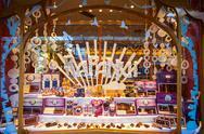 Chocolate store showcase, Bariloche Stock Photos
