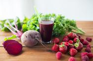 Glass of beetroot juice, fruits and vegetables Stock Photos