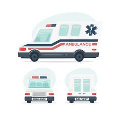Set of cartoon ambulance car. Isolated objects on white background in flat Stock Illustration