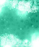 Background green for greeting cards with snowflakes and abstract pattern Stock Illustration