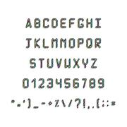 Printed font. Fonts 80s, 90s with a hologram. Simple Letters and symbols. Piirros