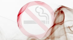 No smoking sign shaped with red and black smoke in red smoke cloud Stock Footage