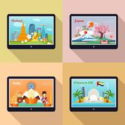 Set of Advertisement Banners. Traveling to Asia Stock Illustration