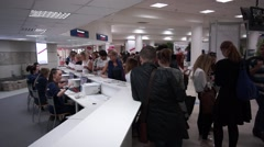 People register to international exhibition in Expo Center Stock Footage