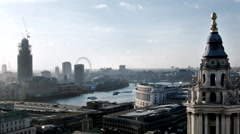Time lapse of London City Skyline with London Eye, Westminster Abbey, Thamse Stock Footage