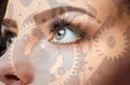 Photo of woman eye and clockwork. Double exposure Stock Photos